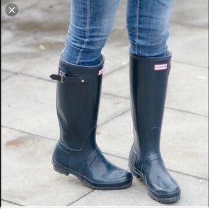 Hunter Navy Gloss Tall Boots